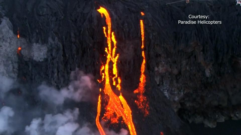 Lava cascaded off of cliffs on Hawaii's Big Island on Wednesday, marking the first time since 2013 that one of Kilauea's lava flows reached the ocean. Rough Cut (no reporter narration).