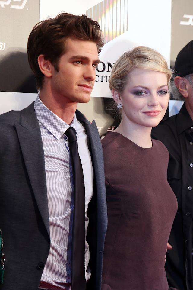 TOKYO, JAPAN - JUNE 13:  Actor Andrew Garfield and actress Emma Stone attend the world Premiere of 'The Amazing Spider-Man' at Roppongi Hills on June 13, 2012 in Tokyo, Japan. The film will open on June 30 in Japan.  (Photo by Ken Ishii/Getty Images)