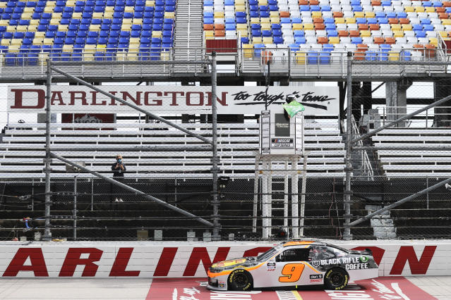Noah Gragson (9) takes the green flag to start the NASCAR Xfinity series auto race Thursday, May 21, 2020, in Darlington, S.C. (AP Photo/Brynn Anderson)