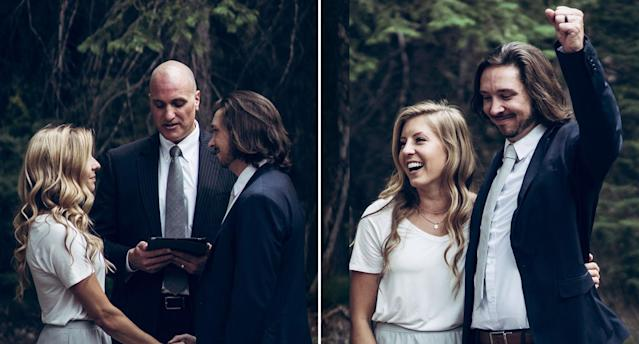 Amy Moffat and Stephen Graham were married in an intimate ceremony in the Utah mountains on August 11. Image: Facebook/Amy Moffat