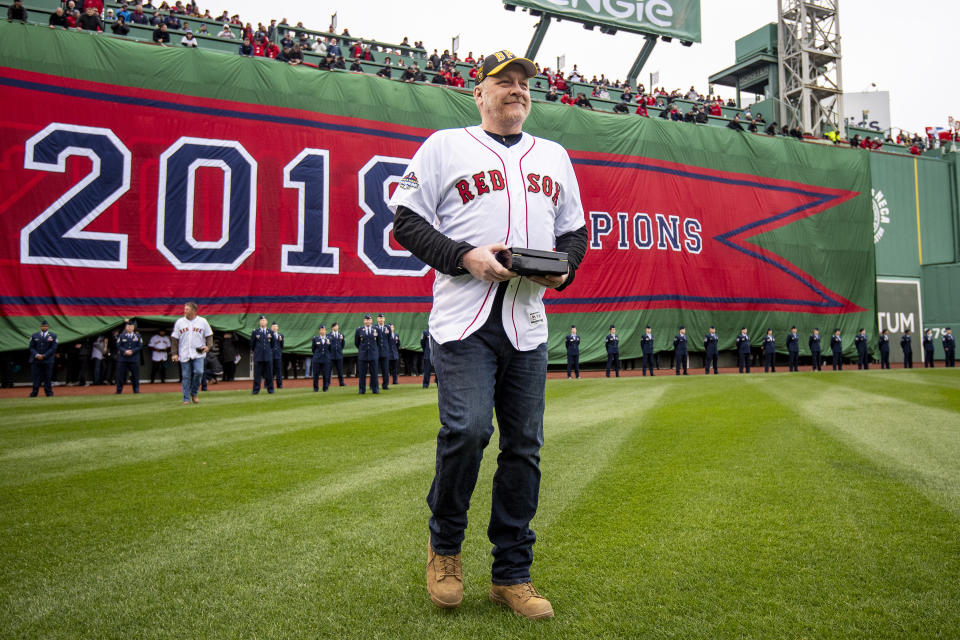 BOSTON, MA - APRIL 9: Former pitcher Curt Schilling of the Boston Red Sox is introduced during a 2018 World Series championship ring ceremony before the Opening Day game against the Toronto Blue Jays on April 9, 2019 at Fenway Park in Boston, Massachusetts. (Photo by Billie Weiss/Boston Red Sox/Getty Images)