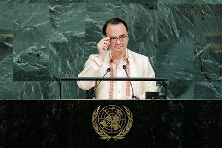 Philippine Foreign Affairs Secretary Cayetano addresses the 72nd United Nations General Assembly at U.N. headquarters in New York
