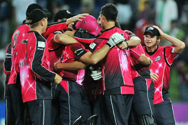The Sydney Sixers celebrate their victory after the Karbonn Smart CLT20 Final match between bizhub Highveld Lions and Sydney Sixers at Bidvest Wanderers Stadium on October 28, 2012 in Johannesburg, South Africa. (Photo by Duif du Toit/Gallo Images/Getty Images)