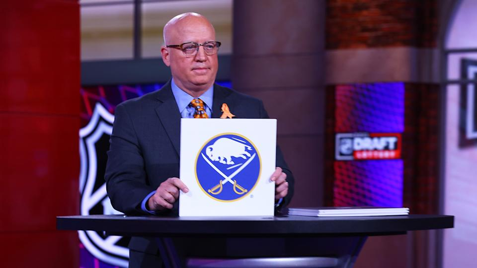 SECAUCUS, NEW JERSEY - JUNE 02: : National Hockey League Deputy Commissioner Bill Daly announces the Buffalo Sabres #1 overall draft position during the 2021 NHL Draft Lottery on June 02, 2021 at the NHL Network's studio in Secaucus, New Jersey. (Photo by Mike Stobe/NHLI via Getty Images)