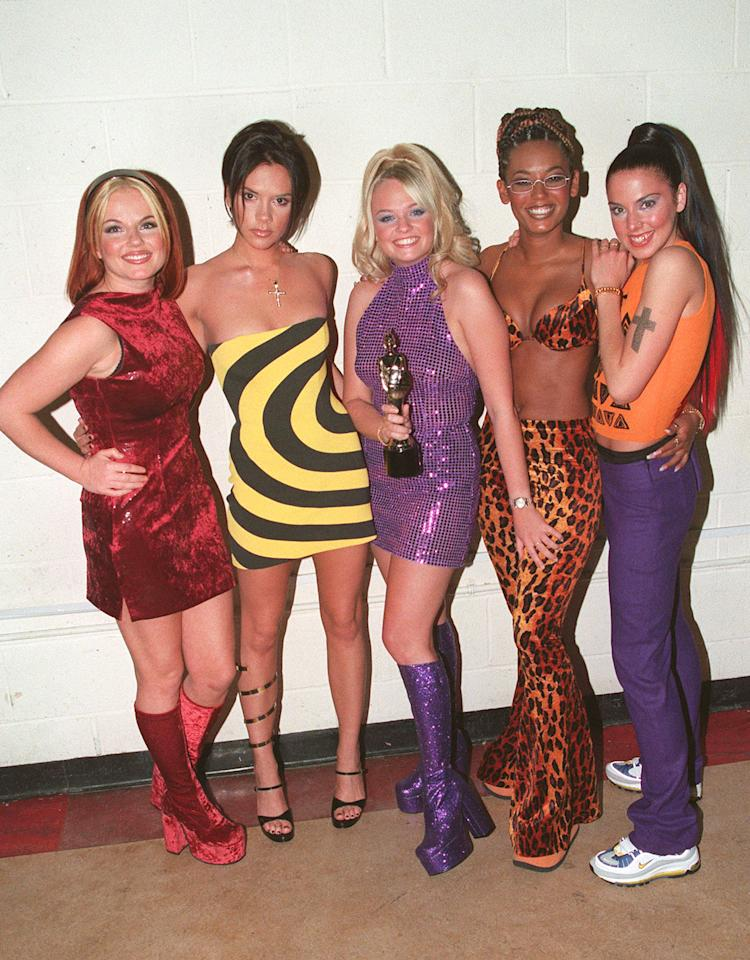 <p>Many a group Halloween costume has been inspired by this very image. The Spice Girls made their debut Brit Awards appearance in what can only be described as their greatest looks to date.<br />We should have predicted Victoria Beckham's future in fashion by her Phoebe Philo-esque mismatched shoes. While many a millennial would pay good money for Mel C's 'dad trainers' RN… <em>[Photo: Getty]</em> </p>