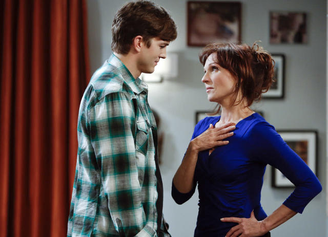 """""""Cows, Prepare to be Tipped"""" -- Walden dates a hot 22-year-old woman, Stacey (Hilary Duff), but finds himself more attracted to her worldly grandmother, Linda (Marilu Henner). Meanwhile, Alan and Jake go on a father-son bonding trip, on TWO AND A HALF MEN, Thursday, May 9 (8:31 - 9:01 PM, ET/PT) on the CBS Television Network. Left: Walden Schmidt (Ashton Kutcher), Right: Linda (Marilu Henner)"""