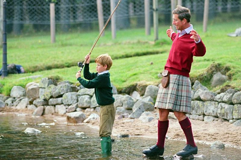 Prince Charles and a young Prince Harry.