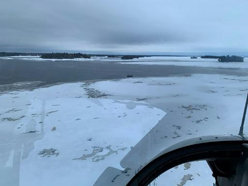 The area around Beemer Island, Quebec, Canada, near Saint-Jean Lake where a search is underway for five French tourists who went missing when their snowmobiles crashed through ice, killing their Canadian guide