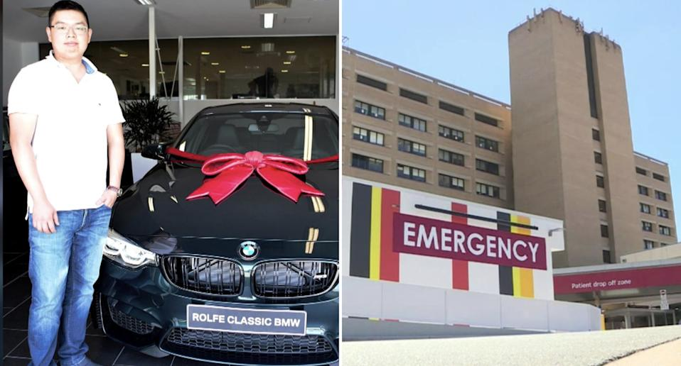 Shann Chain, 33, is pictured with his BMW alongside Goulburn Hospital.