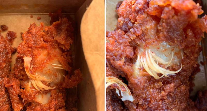 Photo shows pieces of Woolworths chicken with feathers sticking out.