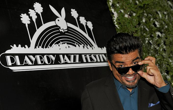 George Lopez, the master of ceremonies for this year's Playboy Jazz Festival, poses following a news conference at the Playboy Mansion on Thursday, Feb. 28, 2013 in Los Angeles. The 35th Anniversary Playboy Jazz Festival will be held at the Hollywood Bowl on June 15 and 16. (Photo by Chris Pizzello/Invision/AP)
