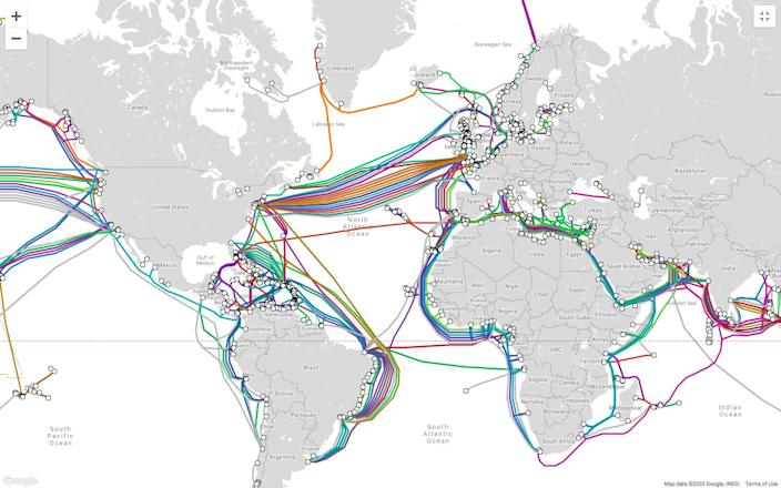 A map showing undersea cables around the world.