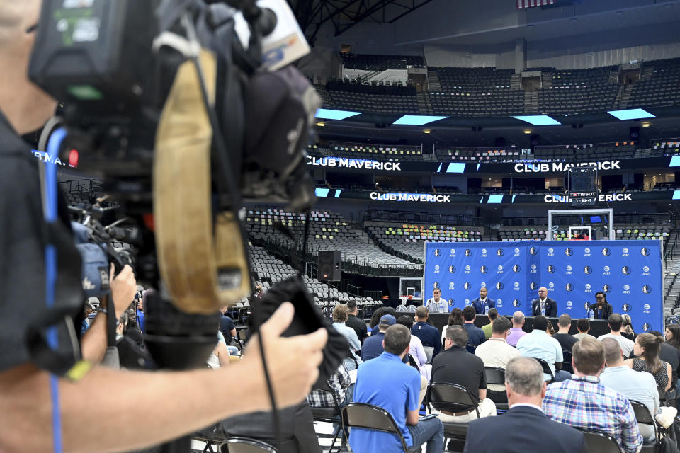 From left, Dallas Mavericks NBA basketball team owner Mark Cuban, new general manager Nico Harrison, new head coach Jason Kidd and Cynt Marshall, CEO, are shown during a press conference formally introducing Kidd and Harrison, Thursday, July 15, 2021, in Dallas. (AP Photo/Matt Strasen)
