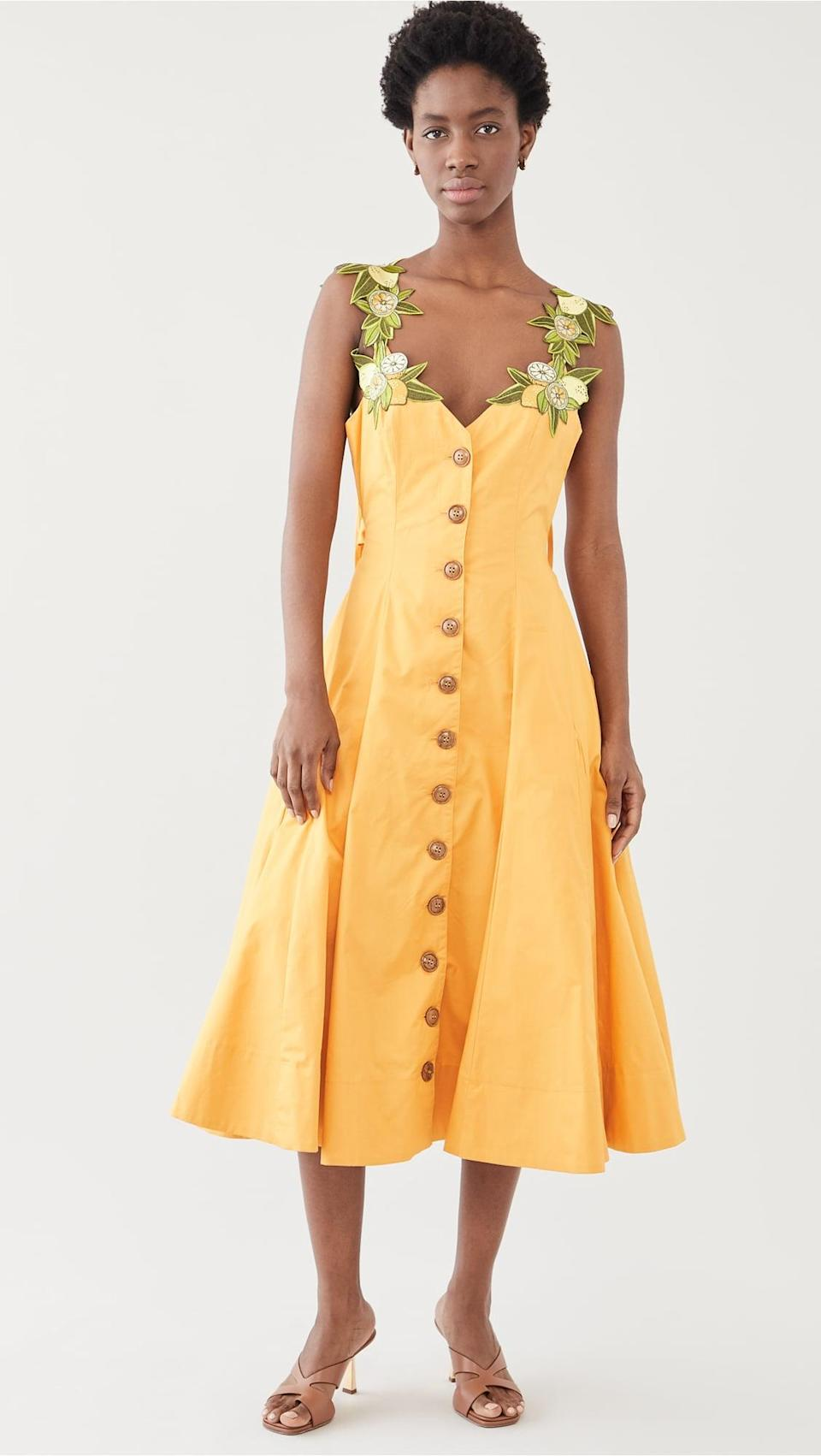 <p>Look closely to see the gorgeous floral details on this <span>Andrea Iyamah Lona Dress</span> ($290). It guarantees compliments.</p>
