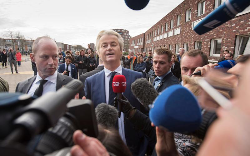 . Geert Wilders, leader of the Party for Freedom (PVV) votes at a polling station in the suberbs of Rotterdam - Credit: David Rose for the Telegraph