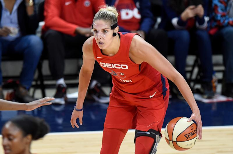 WASHINGTON, DC - OCTOBER 10: Elena Delle Donne #11 of the Washington Mystics handles the ball against the Connecticut Sun in Game 5 of the 2019 WNBA Finals at St Elizabeths East Entertainment & Sports Arena on October 10, 2019 in Washington, DC. (Photo by G Fiume/Getty Images)