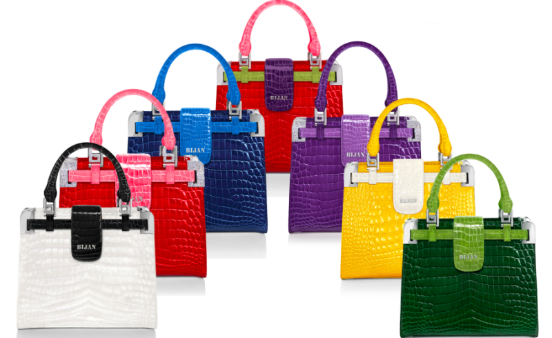 The House of Bijan belonging to Iranian designer Bijan Pakzad sells clothing and fragrances and also has a collection of alligator handbags for ladies in an assortment of bright colours. — Screen capture via House of Bijan's website