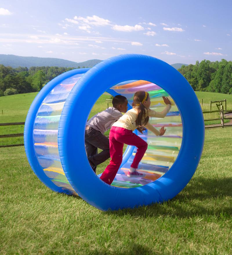 Roll With It! Giant Inflatable Colorful Rolling Wheel. Image via HearthSong.