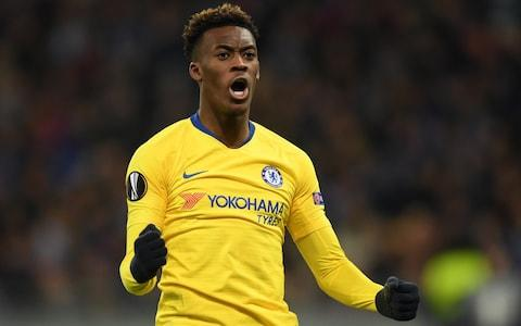 Callum Hudson-Odoi of Chelsea celebrates after scoring his team's fifth goal during the UEFA Europa League Round of 16 Second Leg match between Dynamo Kyiv and Chelsea at NSC Olimpiyskiy Stadium on March 14, 2019 in Kiev, Ukraine - Credit: Getty Images