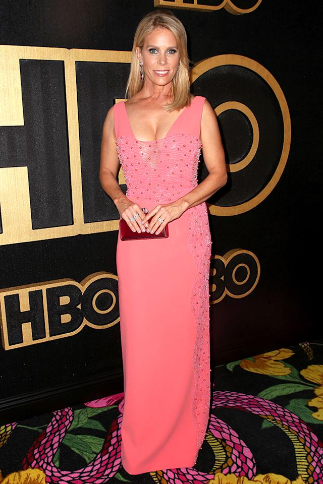 <p>Cheryl Hines of <em>Curb Your Enthusiam</em> was pretty in pink as she headed into HBO's bash. (Photo: Chelsea Lauren/Rex/Shutterstock) </p>