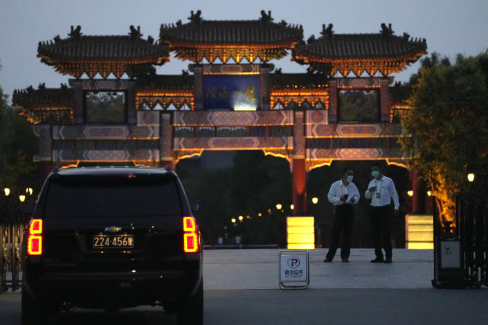 A U.S. embassy car waits outside the Tianjin Binhai No. 1 Hotel where U.S. and Chinese officials are expected to hold talks in Tianjin municipality in China on Sunday, July 25, 2021. Deputy Secretary of State Wendy Sherman travelled to China this weekend on a visit that comes as tensions between Washington and Beijing soar on multiple fronts, the State Department said Wednesday. (AP Photo/Ng Han Guan)