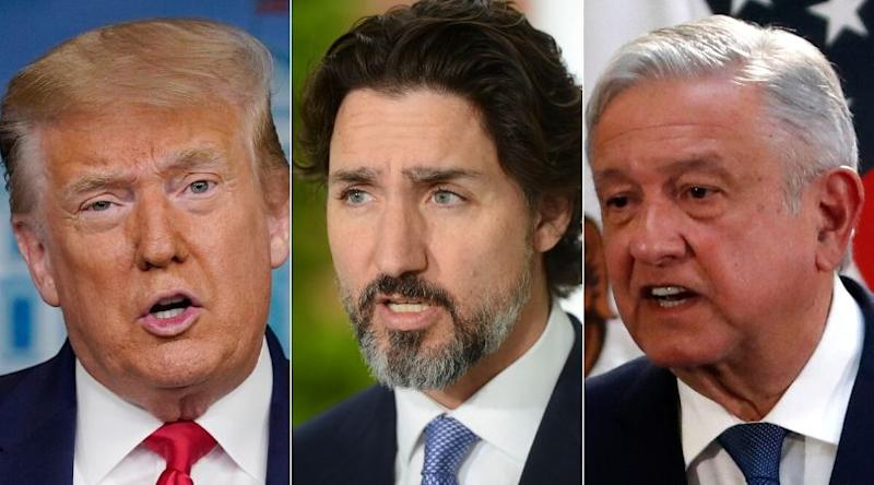 U.S. President Donal Trump, Prime Minister Justin Trudeau and Mexico President Andres Manuel Lopez Obrador are shown in a composite of images from The Canadian Press. (Photo: CP)