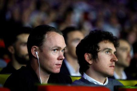FILE PHOTO: Cyclists Chris Froome and Geraint Thomas attend a news conference to unveil the itinerary of the 2019 Tour de France cycling race in Paris, France, October 25, 2018./File Photo