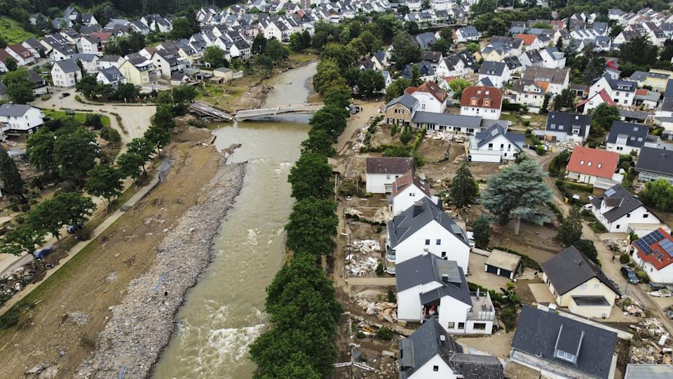 AHRWEILER, GERMANY - JULY 19: An aerial view of the damage after severe rainstorm and flash floods hit western states of Rhineland-Palatinate and North Rhine-Westphalia in Ahrweiler, Germany on July 19, 2021. The death toll rises to 164 after the floods in west of Germany Rhineland-Palatinate and North Rhine-Westphalia. (Photo by Abdulhamid Hosbas/Anadolu Agency via Getty Images)