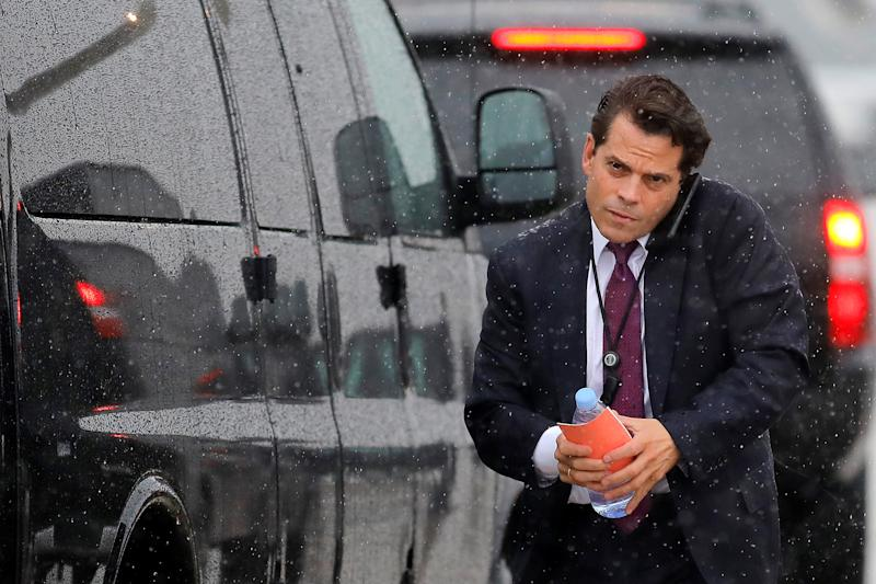 White House Communications Director Anthony Scaramucci arrives to travel with U.S. President Donald Trump to Ronkonkoma, New York from Joint Base Andrews, Maryland, U.S., July 28, 2017. REUTERS/Carlos Barria