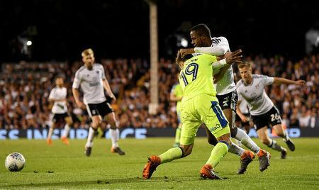 Soccer Football - Championship Play Off Semi Final Second Leg - Fulham vs Derby County - Craven Cottage, London, Britain - May 14, 2018 Derby's Andreas Weimann goes down under a challenge from Fulham's Ryan Sessegnon leading to appeals for a penalty Action Images via Reuters/Tony O'Brien