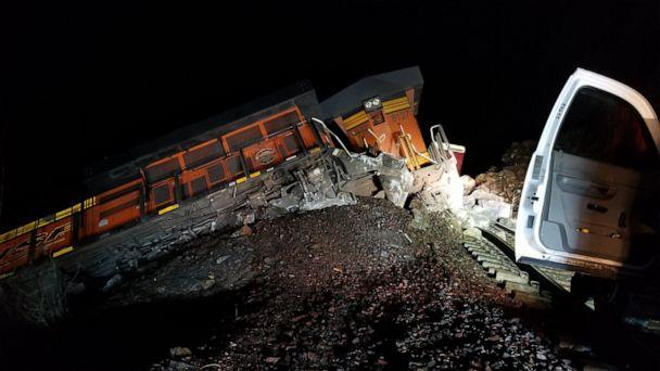 PHOTO: An image released by authorities shows a trail that derailed and ran into the Kootenai River in Idaho. (Idaho State Police)