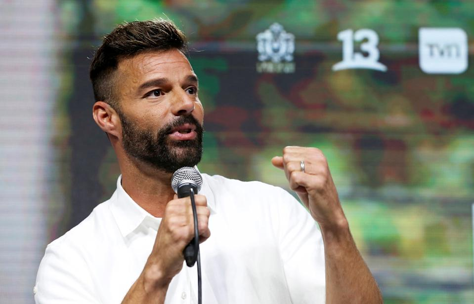 Puerto Rican singer Ricky Martin speaks at a news conference during the 61th International Song Festival in Vina del Mar, Chile, February 23, 2020. REUTERS/Rodrigo Garrido