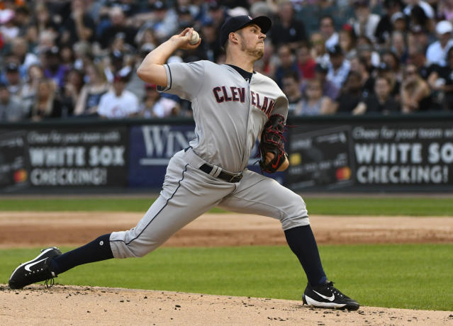 Cleveland Indians starting pitcher Trevor Bauer delivers against the Chicago White Sox during the first inning of a baseball game Saturday, Aug. 11, 2018, in Chicago. (AP Photo/Matt Marton)