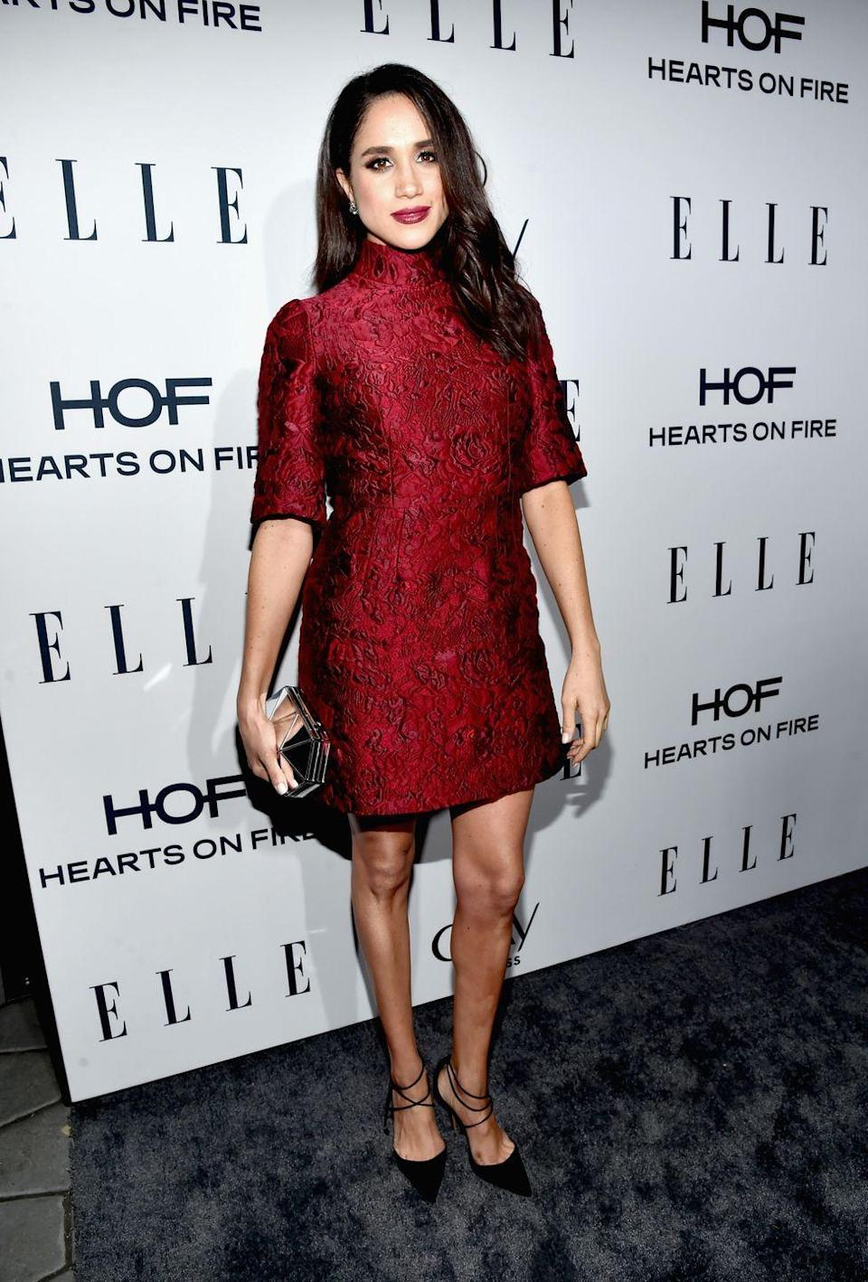 <p>Meghan Markle wore this brocade Dolce and Gabbana dress to attend ELLE's 6th Annual Women In Television Dinner in January 2016</p>
