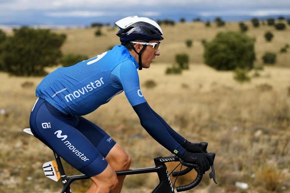 EJEADELOSCABALLEROS SPAIN  OCTOBER 23 Marc Soler Gimenez of Spain and Movistar Team  during the 75th Tour of Spain 2020 Stage 4 a 1917km stage from Garray  Numancia to Ejea de los Caballeros  lavuelta  LaVuelta20  La Vuelta  on October 23 2020 in Ejea de los Caballeros Spain Photo by David RamosGetty Images