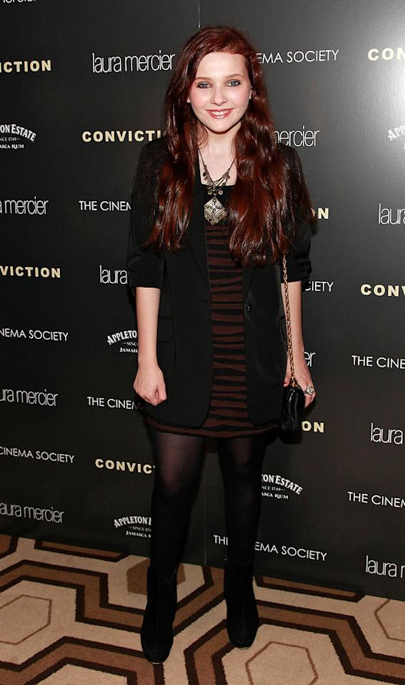 """<a href=""""http://movies.yahoo.com/movie/contributor/1807733519"""">Abigail Breslin</a> at the New York Cinema Society screening of <a href=""""http://movies.yahoo.com/movie/1810071450/info"""">Conviction</a> on October 12, 2010."""
