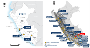 Project Location Map (left) shows Latin Metal's three copper projects in Peru.  Locations of operating mines & exploration projects (right), highlighting theSouthern Peru Copper Belt and the newly acquired Jacha copper project.