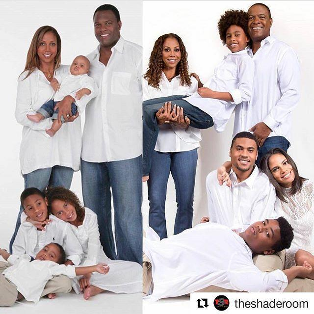 Holly Robinson Peete and her family pose for a hilarious holiday card recreation. (Photo: Instagram/Holly Robinson Peete)