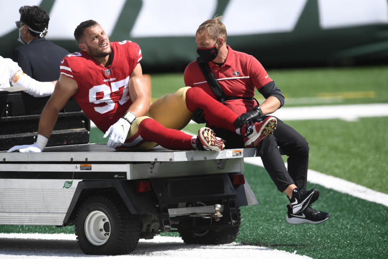 Nick Bosa's season-ending injury was part of an early-season rash of ailments that might be tied to an unusual NFL offseason. (Photo by Sarah Stier/Getty Images)