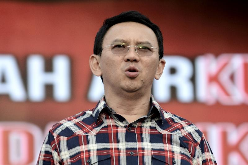 Jakarta governor Basuki Tjahaja Purnama, seen in February 2017, failed to cross the 50 percent re-election threshold, so the election will go to a runoff, according to officials