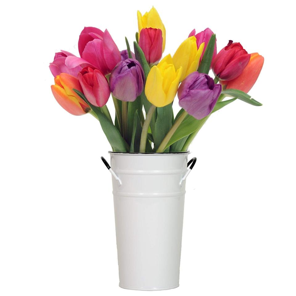 """<h3>Fresh Tulips</h3><br>It's tulip <em>and</em> gifting szn.<br><br><strong>Rating: </strong>4.3 out of 5 stars, and 553 reviews<br><br><strong>A Satisfied Customer Review: </strong>""""This was the best year for presents from me to my Mom. She got these flowers and a few other great things but these by far take the cake. They opened slowly and completely. They were in perfect condition and arrived less than 24 hours from time of purchase. I'm so pleased. I'll be buying these again for someone in the future. Maybe me!""""<br><br><strong>Stargazer</strong> Bouquet With Colorful Tulips In Vase, 15 Count, $, available at <a href=""""https://amzn.to/3n2713s"""" rel=""""nofollow noopener"""" target=""""_blank"""" data-ylk=""""slk:Amazon"""" class=""""link rapid-noclick-resp"""">Amazon</a>"""