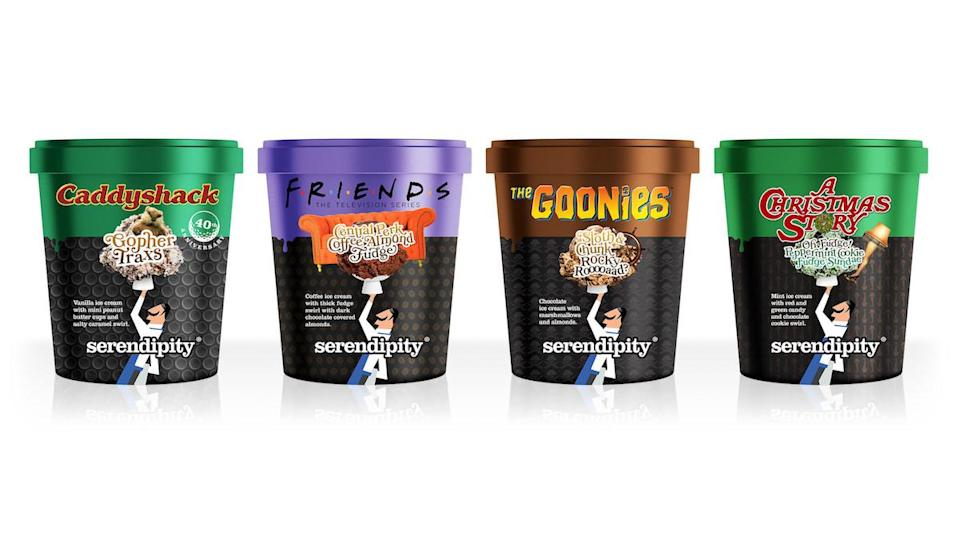 Four pints of ice cream from Serendipity Brands, with flavors for Friends, Caddyshack, The Goonies, and A Christmas Story