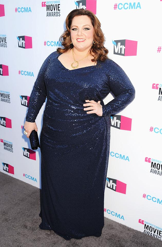 """<a href=""""http://movies.yahoo.com/movie/contributor/1804504085"""">Melissa McCarthy</a> at the 17th Annual Critics' Choice Awards in Hollywood on January 12, 2012."""