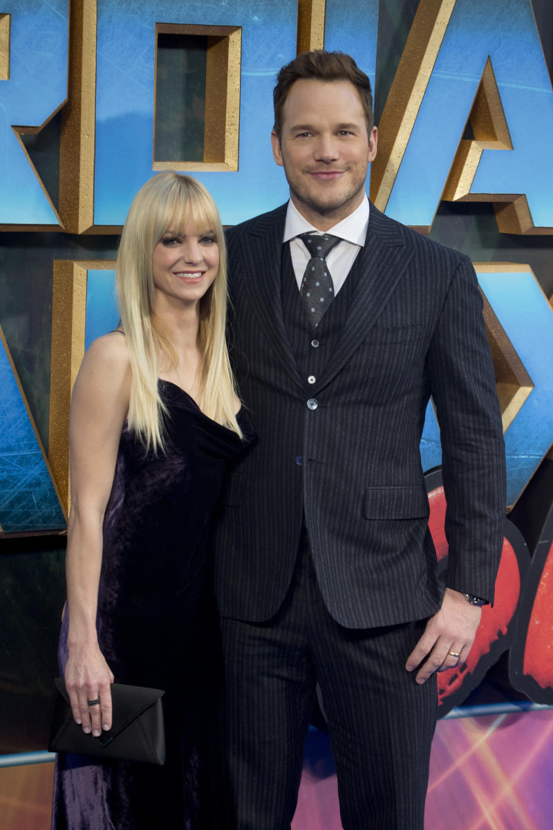 "Anna Faris and Chris Pratt at the ""Guardians of the Galaxy Vol. 2"" premiere.  (Julian Parker via Getty Images)"