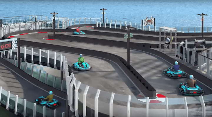 If the idea of a cruise has always failed to float your boat, then might you be persuaded if you were told that on the top deck of your ship is a two-level, Ferrari-branded go-kart track?