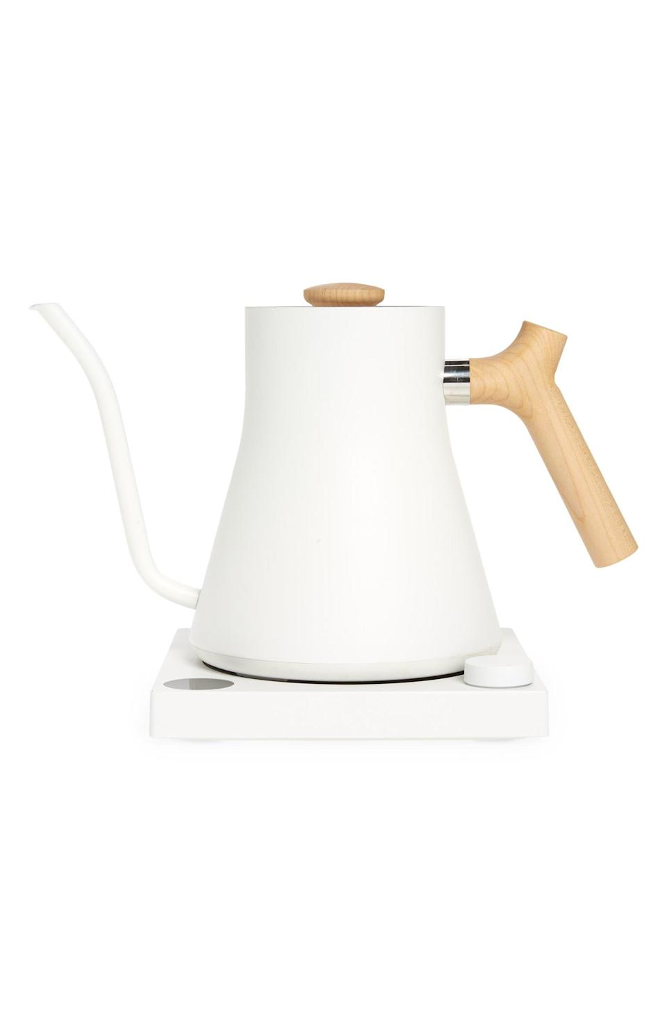 """<strong><h2>Fellow Stagg EKG Electric Kettle</h2></strong><br><strong>SELLING FAST</strong><br>Stagg's trendy kettles would tempt us on looks alone — but, lucky for us (and our morning coffee), they work well, too. A Nordstrom-customer favorite, this sleek kitchen essential features several temperature control options so you can get brew your morning beverage exactly how you like it.<br><br><em>Shop more <a href=""""https://go.skimresources.com?id=30283X879131&xs=1&url=https%3A%2F%2Fwww.nordstrom.com%2Fbrowse%2Fanniversary-sale%2Fall%3Fcampaign%3D0728publicgnpt1%26jid%3Dj012165-15573%26cid%3D00000%26cm_sp%3Dmerch-_-anniversary_15573_j012165-_-catpromo_corp_persnav_shop%26%3D%26postalCodeAvailability%3D10543%26filterByProductType%3Dhome_kitchen-equipment&sref=https%3A%2F%2Fwww.refinery29.com%2Fen-us%2Fnordstrom-anniversary-sale-best-sellers"""" rel=""""nofollow noopener"""" target=""""_blank"""" data-ylk=""""slk:Nordstrom Anniversary Sale kitchen equipment"""" class=""""link rapid-noclick-resp"""">Nordstrom Anniversary Sale kitchen equipment</a></em><br><br><strong>Fellow</strong> Stagg EKG Electric Kettle, $, available at <a href=""""https://go.skimresources.com/?id=30283X879131&url=https%3A%2F%2Fwww.nordstrom.com%2Fs%2Ffellow-stagg-ekg-electric-kettle%2F5887568"""" rel=""""nofollow noopener"""" target=""""_blank"""" data-ylk=""""slk:Nordstrom"""" class=""""link rapid-noclick-resp"""">Nordstrom</a>"""