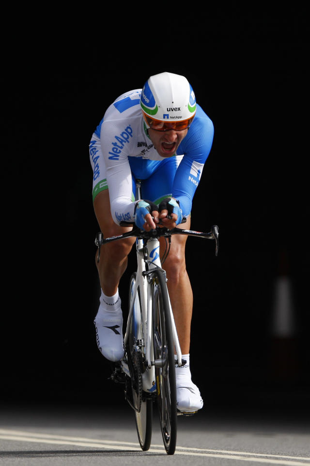 LONDON, ENGLAND - SEPTEMBER 18: Jan Barta of Czech Republic and Team NetApp emerges from a tunnel in Lower Thames Street as he competes in the Individual Time Trial during Stage Eight of the Tour of Britain on September 18, 2011 in London, England. (Photo by Dan Istitene/Getty Images)