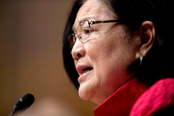 Sen. Mazie Hirono, D-Hawaii, speaks as Attorney General William Barr testifies during a Senate Judiciary Committee hearing on Capitol Hill in Washington, Wednesday, May 1, 2019, on the Mueller Report. (Photo: Andrew Harnik/AP)