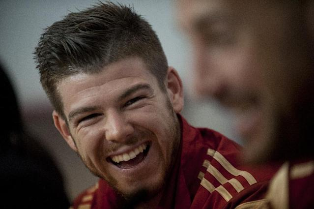 Spain's international and Liverpool's new signing Alberto Moreno, pictured during a press conference in Sevilla, on May 29, 2014 (AFP Photo/Jorge Guerrero)