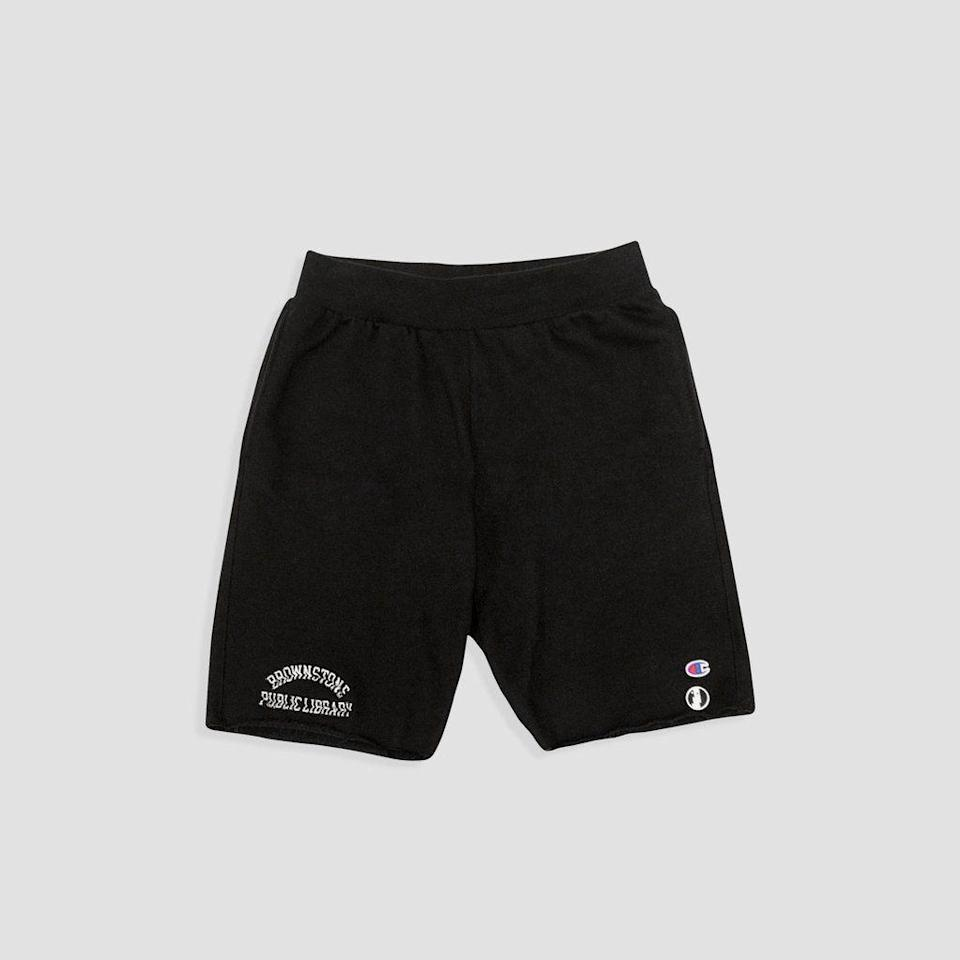 "<p><strong>Brownstone</strong></p><p>brwnstne.co</p><p><strong>$75.00</strong></p><p><a href=""https://brwnstne.co/collections/all-products/products/champion-reverse-weave-shorts-black"" rel=""nofollow noopener"" target=""_blank"" data-ylk=""slk:Shop Now"" class=""link rapid-noclick-resp"">Shop Now</a></p><p>Offering a slight detour from convention, these board shorts feature raw edges and a cropped hem. </p>"